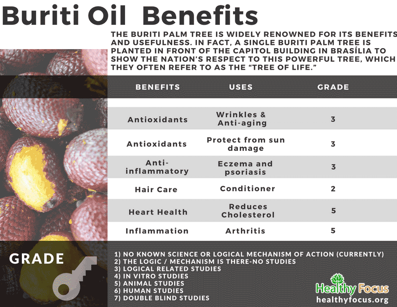 chart Buriti Oil Benefits